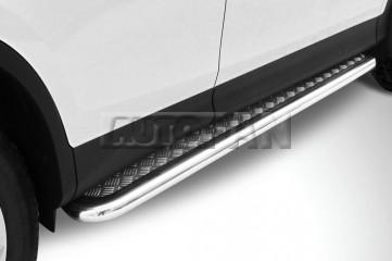 Пороги на Toyota RAV4 4 (CA40) (2013-2015) d57 мм Труба с листом Slitkoff, артикул TR413-005, купить в Москве